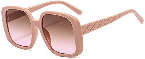 Gafas De Sol Mujer Aviator Frame Fashion Sports Moda Al Aire Libre Decoración De Metal Ultralight UV400 Protección (Color : Pink Yellow)