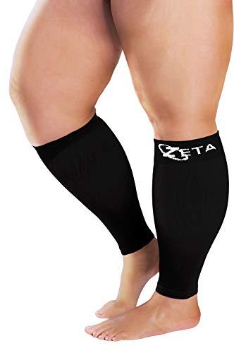Zeta Sleeves XXL Wide Calf Compression, beruhigende, bequeme Wanderunterstützung, verhindert Schwellungen, Schmerzen, Ödeme, TVT, große Stulpen, Dehnung bis 66 cm, Unisex (schwarz)