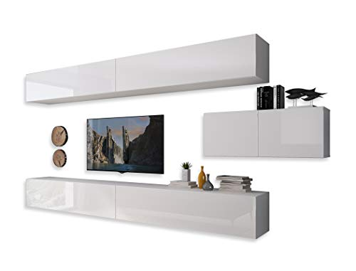 LUK Furniture COLGANTE III Wohnwand Lowboard Wohnwand Set TV-Schrank Hängeschrank Weiß Hochglanz HG Fernsehschrank mit LED Beleuchtung und Push to Open System Sideboard Wohnzimmer