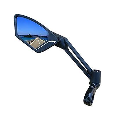 Scratch Resistant Glass Lens,Handlebar Bike Mirror, Adjustable Safe Rearview Mirror, Bicycle Mirror (Blue Left Side) ME-003LB
