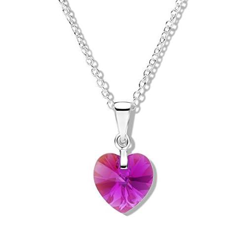 Jo for Girls-Ciondolo in argento Sterling con ciondolo Aurora Borealis Fuscia a forma di cuore in cristallo Swarovski, lunghezza 36 cm