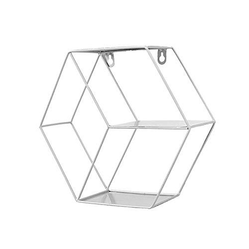 QXJTX Estantes de baño Iron Hexagonal Grid Wall Shelf Combinación de Pared Colgante Figura geométrica para decoración de Pared Sala de Estar Dormitorio (Color : C)