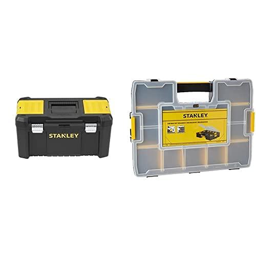 Stanley Stst1-75521 - Caja De Herramientas De Plastico Con Cierre Metálico, 48.5 X 25 X 25 Cm + 1-94-745 - Organizador Sortmaster 44.2 X 9.2 X 33.3 Cm
