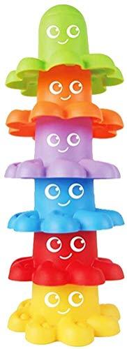 MISS KANG 6pc niños pequeños para niños Juguetes para niños Que apilan flotantes flotantes Marinos octopos Tazas de baño Conjunto Juguetes para niños (Rendom Coloriuml; FRAC14; Permil; Qingchunw