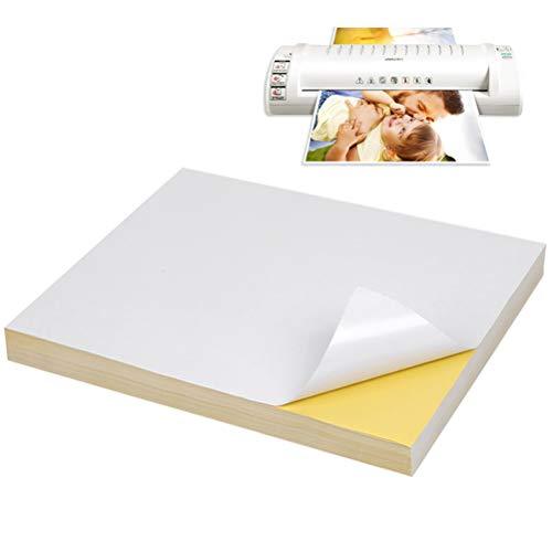 WOWOSS 100 Blatt A4 selbstklebendes Aufkleber Druckpapier, 297 * 210 mm,für Adressetiketten und Bedrucken, Geeignet für Laser, Tintenstrahldruck, Kopiererdruck, Weiß matt
