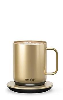 NEW Ember Temperature Control Smart Mug 2 10 oz Gold 1.5-hr Battery Life - App Controlled Heated Coffee Mug - Improved Design