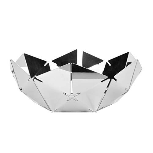 Silvervatten kub rostfritt stål fruktplatta, spegel ihålig fruktplatta 29,8 * 11cm.Snackbricka