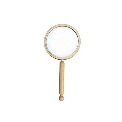 Poignée ronde en bois Miroir, Miroir de maquillage classique tenue de style japonais Minimaliste à sens unique Miroir Portable haute définition (Color : A, Size : 28 * 14CM)