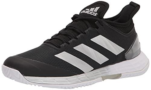 adidas Women's Adizero Ubersonic 4 Tennis Shoe, Black/Silver Metallic/White, 8