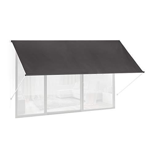 Relaxdays Fallarmmarkise HxB: 120x300 cm, Schattenspender Fenster, 50+ UV-Schutz, Seilzug, Polyester & Metall, anthrazit