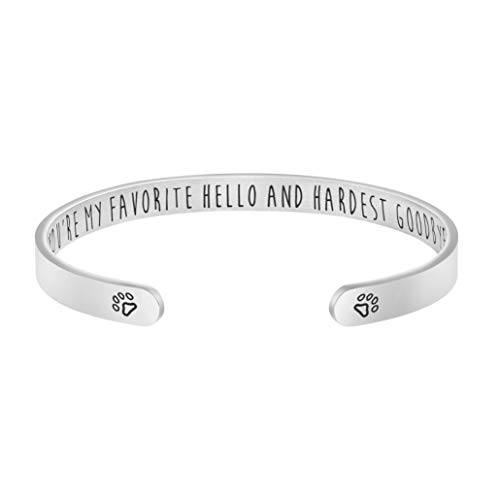 Pet Memorial Gifts Loss of Pet Gifts Sympathy Gifts Memorial Cuff Bangle Bracelet Jewelry for Women Men Engraved You're My Favorite Hello and Hardest goodbay
