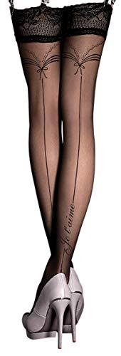 Unbekannt Ballerina Halterlose Damen-Strümpfe, schwarz, Stockings, Spitze, Strapsoptik Größe Large/X-Large