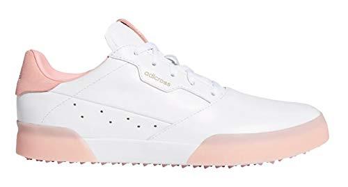 Adicross - Zapatillas de golf para mujer (piel, talla 41 1/3), diseño retro, color blanco y rosa