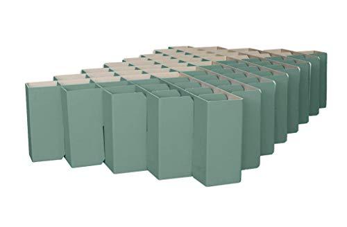 ROOM IN A BOX Bett 2.0 S/Salbei: Klappbett aus Wellpappe 80 90 100 x 200 cm und Zwischengrößen. Auch als Gästebett. Lattenrost Nicht nötig.