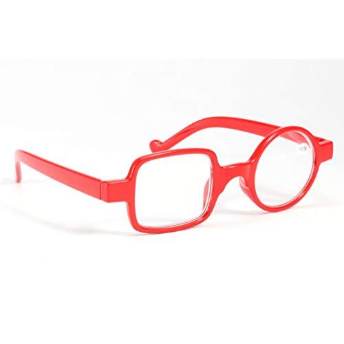 Outech Occhiali da Lettura in Plastica, Lettura Presbiopia Antiriflesso, Rosso/Nero/Blu, Rotondo Sinistro+Quadrato Destro