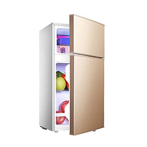 SHKUU Congelador Independiente 58L con compresor Refrigerador Doble Puerta Control Temperatura Mini con Caja enfriamiento Bajo Consumo energía Bajo Ruido 76cm