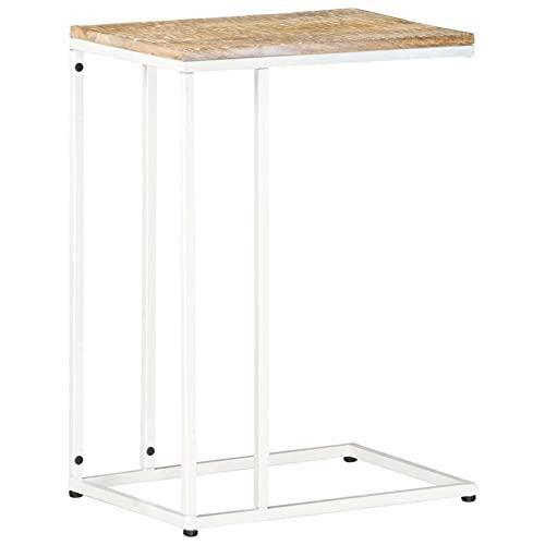 Tidyard Tavolino Laterale da Servizio in Legno Massello di Mango e Acciaio 35x45x65 cm,Tavolino da caffè Vintage,Tavolino da Salotto Vintge,Tavolino Laterale,Tavolino Design,Tavolino d'Appoggio