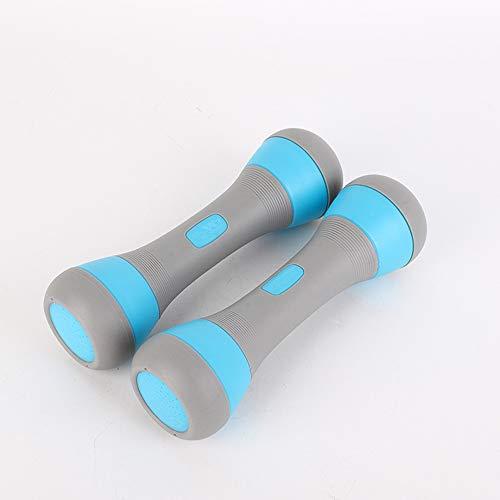 Chrasy 2er-Set Neopren Kurzhanteln Blau Hantel Workout Gewichte für Gymnastik Kurzhanteln Einstellbares Gewicht bis zu 2 kg für Gymnastik, Aerobic, Pilates Fitness