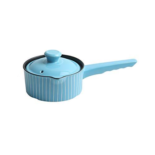 JT-Cookware Plats De Cocotte en Argile Bleue avec Couvercle, Pots De Complément Alimentaire pour Bébé Domestique Pots à Soupe Pots à Soupe Alimentaires Poêles Antiadhésives Multi-capacité(Size:1L)