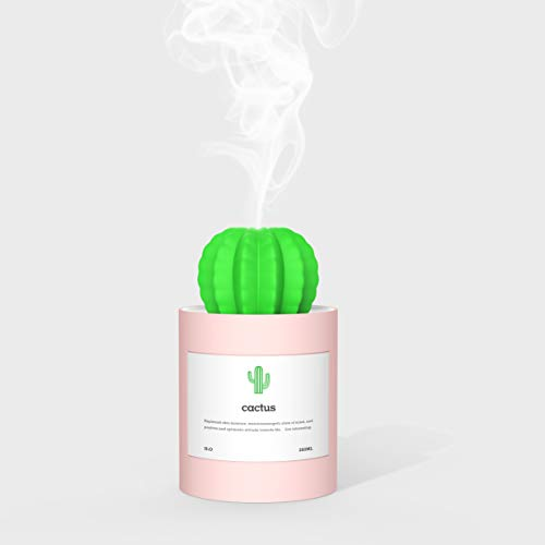 Tobnone Cactus Humidifiers, Desktop Mini Cool Mist Humidifier 280ml USB Portable Air Diffuser, Auto Shut-Off, Best Gift for Christmas, for Bedroom, Baby, Home, Yoga, Office, Travel (Pink)