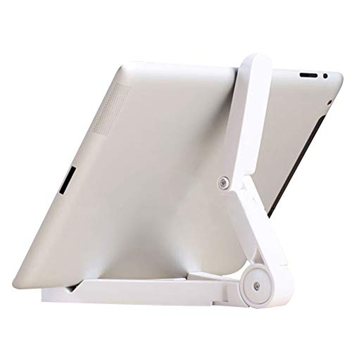 Chutoral Tablet Holder Phone Stand Lazy Mount Stand Folding Adjustable Desk Holder for iPhone Galaxy Tablet iPad Air(White)