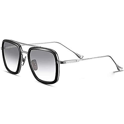 LLLYZZ Retro Sonnenbrille Brille Square Eyewear Metallrahmen für Männer Frauen Iron Man Sonnenbrille @ Tony_Stark_the_Same_Color