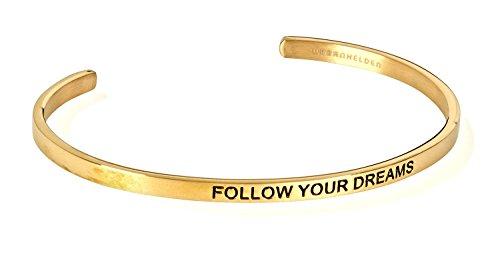"""URBANHELDEN - Armreif mit Gravur - Damen Schmuck Inspiration Motivation - Verstellbar, Edelstahl - Armband mit Spruch""""Follow your dreams"""" - Gold"""