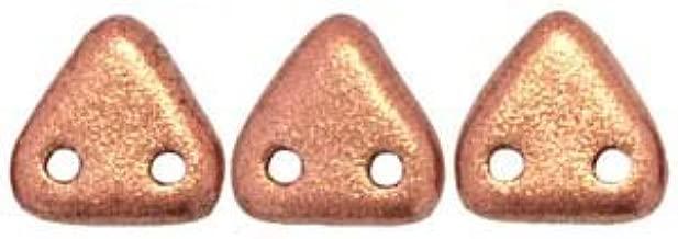 Czech Glass Beads Triangle 2 Hole 6mm 10 Grams Matte Metallic Copper