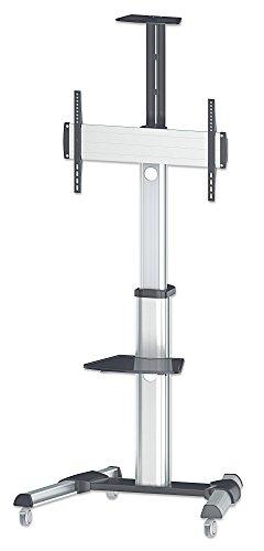 """Manhattan 461245 Universal Multimedia TV-Ständer auf Rollen für Bildschirme 37\"""" bis 70\"""" ( bis zu 50 kg Kamerahalterung und AV-Fachboden abnehmbar ) schwarz silber"""