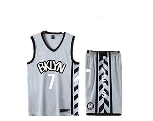 Jersey de Baloncesto Adulto de los Hombres, Adecuado para Jerseys de Baloncesto Irving No. 7 y No. 11, Conjunto de Camisetas de Baloncesto conmemorativo Silver-XL