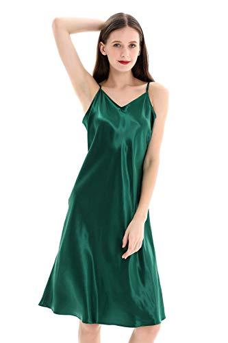 ZIMASILK 22 Momme Mulberry Silk Nightgown Short Chemise Nightdress Strap Negligee(Large, Blackish Green)