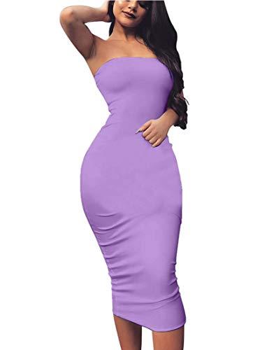 BORIFLORS Women's Basic Sleeveless Tube Top Sexy Strapless Bodycon Midi Club Dress,Medium,Purple