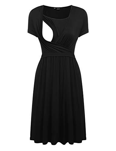 Showyoo Women's Maternity Dress Plus Size Nursing Dresses for Breastfeeding (Black,XX-Large)
