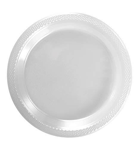 Exquisite 9 Inch. Clear plastic plates - Solid Color Disposable Plates - 100 Count