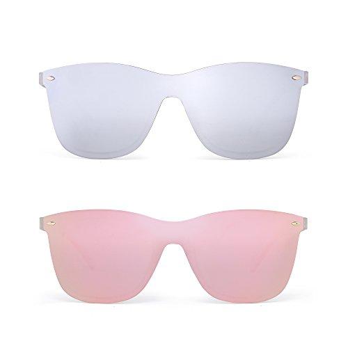 Sin Montura Espejo Gafas de Sol Una Pieza Sin Marco Anteojos Hombre Mujer 2 Paquete(Plateado&Rosa)