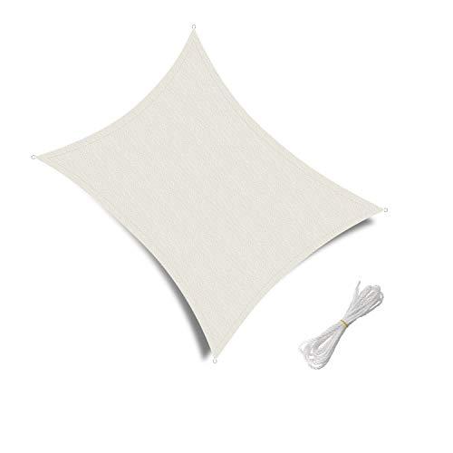 Patio Shack Tenda a Vela Impermeabile Rettangolare 3x5m, Vela Ombreggiante Protezione Raggi UV Resistente all'Acqua per Esterno, Giardino Terrazza, Crema
