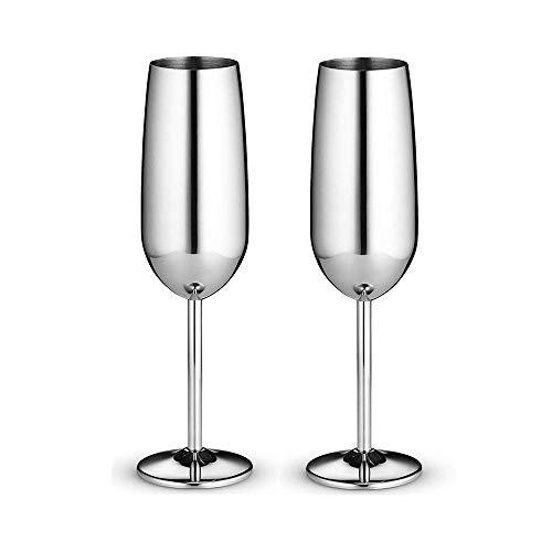 Kimmyer 2er Pack 8 Unzen Edelstahl Champagnerflöten Weinglas - unzerbrechliche Reise-Champagnerflöten - für Hochzeit, Party und Jubiläum