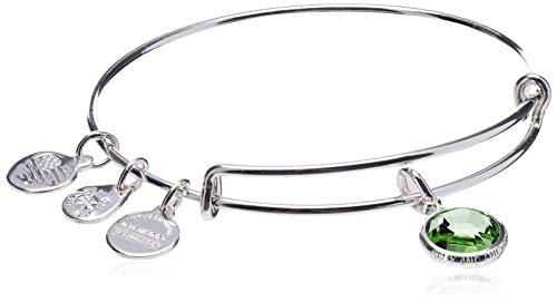 Alex and Ani Women's Swarovski Color Code Bangle August Peridot Bracelet, Shiny Silver, Expandable