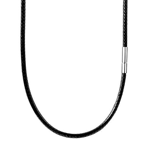 【SIMPS】紐 ネックレス チョーカー ラップブレス ワックスコード 黒 メンズ 316L ステンレス 留め具 耐久性 防水 2㎜ 3㎜ 太さ 45㎝ 50㎝ 55㎝ 長さ ギフト 専用化粧箱入り (3mm/55cm)