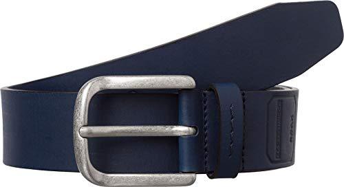 BRAX Masterpiece Büffelleder Uni Schließe American Silver Cintura, Blu (Navy 22), 5 (Taglia Produttore: 85) Uomo