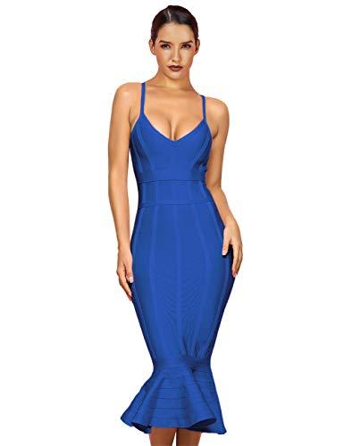 Maketina Women's Mermaid Spaghetti Strap V Neck Bodycon Midi Cocktail Bandage Dress Blue S