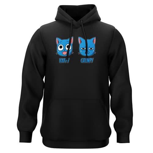 Okiwoki Sweat-Shirt à Capuche Noir Parodie Fairy Tail - Happy Vs Grumpy Cat - Happy Grumpy (Sweatshirt de qualité Premium de Taille L - imprimé en France)