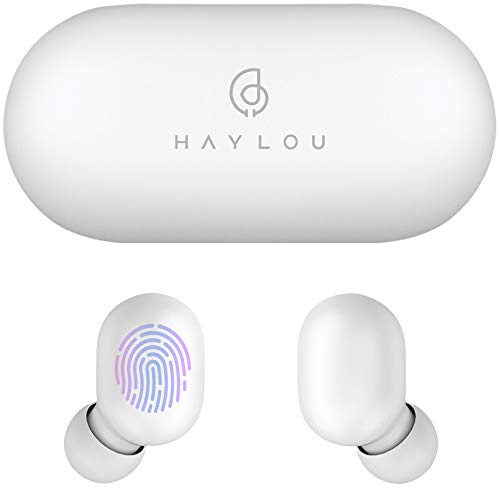 True Wireless Earbuds,Haylou GT1 Bluetooth 5.0 Sports HD Stereo Touch Control Ear Buds with IPX5 Waterproof/Fast Connection/Mini Case(Only 30g)/Total 12H Playtime (White)