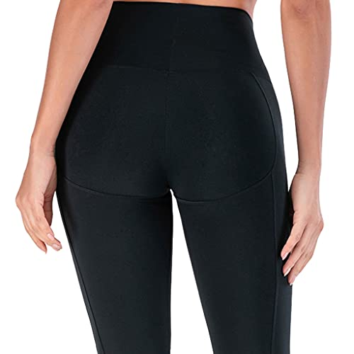 ZZAL los Pantalones Yoga Las Polainas de Cintura Alta Mujeres Empujan hacia Arriba Medias Yoga Entrenamiento Compresión(Size:SG,Color:Negro)