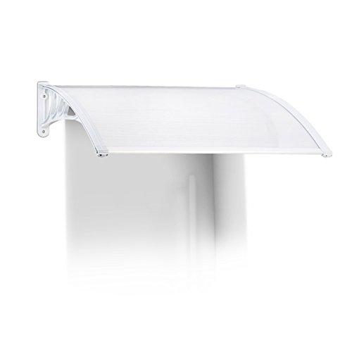 Relaxdays Vordach Haustür, Kunststoff, Aluminium, Pultbogenvordach, HxBxT: 120 x 100 cm, Überdachung, Transparent