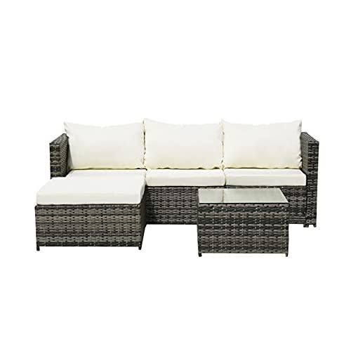 XDOVET Juego de muebles de jardín, muebles de jardín de ratán para exteriores, sofá de esquina de 4 piezas, cojín blanco roto, marco de hierro PE 150 kg (se entrega en dos paquetes)