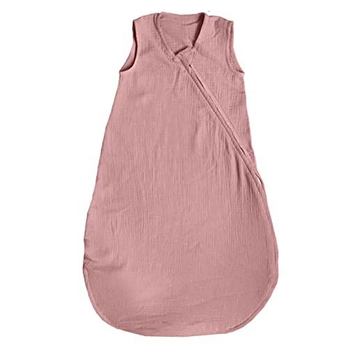Mimuselina Saco Dormir bebé sin Mangas de Muselina (100% algodón, Transpirable). Evita Que se destapen. Saco arropar bebés Verano TOC 1.0. Cremallera Doble cursor Cambio pañal.(Rosa, 6-18 Meses)