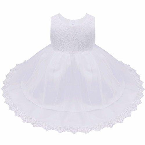 iiniim Baby Mädchen Kleid Festlich Prinzessin Kleid Blumenmädchenkleid Mesh Taufkleid Hochzeit Partykleid Festzug Gr.62-86 Weiß Stil 2 62-68