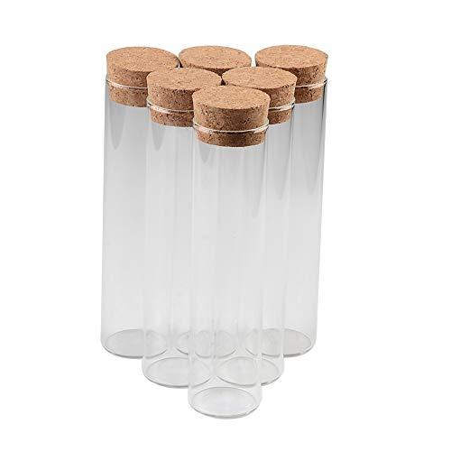 Jarvials 6pcs Bocaux en Verre De Transparente avec Bouchon liège, capacité De Stockage De 110 ML, diamètre extérieur du Fiole De Tube à Essai De 37 mm (110ml)