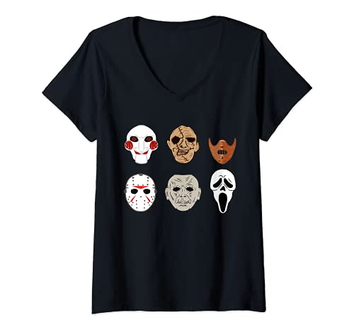 Mujer Mscaras de pelcula de terror miedo payaso segador disfraz de Halloween Camiseta Cuello V